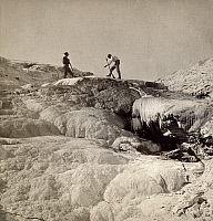 0129977 © Granger - Historical Picture ArchiveYELLOWSTONE PARK: MAGIC SPRING.   Magic Spring and Fissured Ridge in Mammoth Hot Springs on Gardiner's River, Yellowstone National Park, Wyoming. Stereograph, c1870-1880.