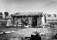 0186465 © Granger - Historical Picture ArchiveYELLOWSTONE: RANCH, 1872.   Major Pease's ranch on the Yellowstone River in Montana. Photograph by William Henry Jackson during the geological surveys led by Ferdinand Vandeveer Hayden, 1872.