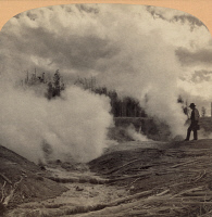 0621057 © Granger - Historical Picture ArchiveYELLOWSTONE: GEYSER, c1902.   Black Growler Geyser in Yellowstone National Park, Wyoming. Stereograph, c1902.