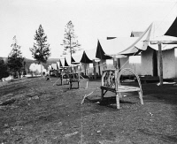 0621184 © Granger - Historical Picture ArchiveYELLOWSTONE: CABINS, c1903.   Tourist accommodations in the Upper Geyser Basin, Yellowstone National Park. Photograph by Frances Benjamin Johnston, c1903.