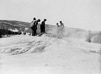 0621239 © Granger - Historical Picture ArchiveYELLOWSTONE: TOURISTS, 1903.   Tourists at a geyser at Yellowstone National Park. Photograph by Frances Benjamin Johnston, 1903.