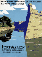 0621268 © Granger - Historical Picture ArchivePOSTER: NATIONAL PARK.   Poster for Fort Marion National Monument in St. Augustine, Florida, c1938.