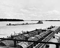 0097743 © Granger - Historical Picture ArchiveMISSISSIPPI RIVER, c1960.   View from an oil boat being towed upstream on the Mississippi River, near Angola, Louisiana.