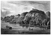 0167403 © Granger - Historical Picture ArchiveMISSISSIPPI RIVER: BLUFFS.   A view of the Upper Mississippi River, showing bluffs along the shore. Line engraving, 19th century.