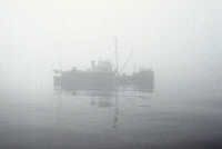 0166742 © Granger - Historical Picture ArchiveSHIP IN FOG, c1972.   A ship in the fog on one of the Great Lakes, c1972.