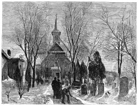 0079535 © Granger - Historical Picture ArchivePHILADELPHIA: WINTER, 1873.   'Old Swedish Church in Philadelphia.' Wood engraving, American, 1873.