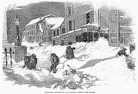 0079537 © Granger - Historical Picture ArchiveMASSACHUSETTS: BLIZZARD.   'The Recent Deep Snow in Massachusetts: Street Scene in New Bedford.' Wood engraving, American, 1857.