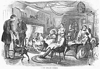 0079540 © Granger - Historical Picture ArchiveNEW ENGLAND FIRESIDE, 1855.   Wood engraving, American.