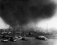0132647 © Granger - Historical Picture ArchiveOHIO: TORNADO, 1974.   A tornado moving through the Pine Crest Garden section of Xenia, Ohio, 3 April 1974. At least 29 persons were killed.