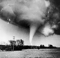 0132650 © Granger - Historical Picture ArchiveTORNADO, TEXAS, 1947.   A tornado funnel moving toward Rockwell, Texas, 30 April 1947.