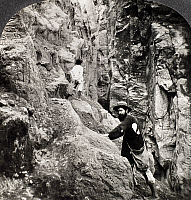0099532 © Granger - Historical Picture ArchiveGUADELOUPE: FISSURE.   Mighty earthquake fissure at Lac du Nord, Guadeloupe, West Indies. Stereograph, c1900.
