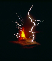 0180579 © Granger - Historical Picture ArchiveGUATEMALA: VOLCANO, 1974.   Eruption of Volcán de Fuego (Volcano of Fire), accompanied by lightning, near Guatemala City, Guatemala, 14 October 1974.