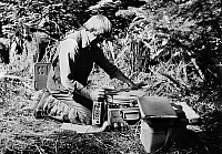 0180582 © Granger - Historical Picture ArchiveMOUNT ST. HELENS, 1980.   A scientist with the U.S. Geological Survey installing portable seismic recording equipment near Mount St. Helens, in Washington State, April 1980, prior to the major eruption of the volcano that took place on 18 May 1980.