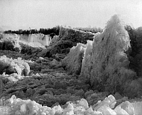 0113446 © Granger - Historical Picture ArchiveNIAGARA FALLS: ICE BRIDGE.   Ice bridge on the Canadian side of Niagara Falls, photographed by George Barker, c1883.