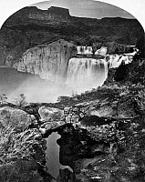 0125307 © Granger - Historical Picture ArchiveIDAHO: SHOSHONE FALLS.   A view of Shoshone Falls on the Snake River in southern Idaho, showing a natural bridge in the foreground. Stereograph, 1874, by Timothy H. O'Sullivan.