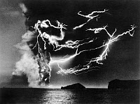 0176300 © Granger - Historical Picture ArchiveVOLCANIC LIGHTNING, 1963.   Lightning in the clouds above the Surtsey volcano, off the southern coast of Iceland. Photographed by Sigurgeir Jonasson, December 1963.