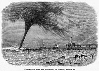 0041235 © Granger - Historical Picture ArchiveENGLAND: WATERSPOUT, 1864.   A waterspout in the English Channel off Worthing, 21 August 1864. Line engraving from a contemporary English newspaper.