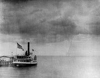0132577 © Granger - Historical Picture ArchiveWATERSPOUT, 1896.   A waterspout over Vineyard Sound off Martha's Vineyard, Massachusets, 19 August 1896. Photographed by Baldwin Coolidge.
