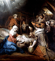 0019565 © Granger - Historical Picture ArchiveFABRITIUS: SHEPHERDS.   Adoration of the Shepherds. Oil on canvas, 1667, by Barent Fabritius. RESTRICTED OUTSIDE US.
