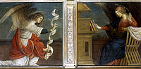 0039455 © Granger - Historical Picture ArchiveGAUDENZIO: ANNUNCIATION.   'The Annunciation.' Two panel altarpiece, oil and tempera on wood, Gaudenzio Ferrari, c1510. RESTRICTED OUTSIDE US.