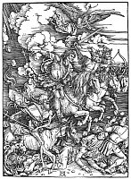 0006001 © Granger - Historical Picture ArchiveAPOCALYPSE: FOUR HORSEMEN.   The Four Riders of the Apocalypse (War, Famine, Death, and Pestilence). Woodcut, 1498, by Albrech Dürer.