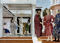 0022756 © Granger - Historical Picture ArchiveFRANCESCA: FLAGELLATION.   Flagellation of Christ. Oil on panel, 1460s, by Piero della Francesca.