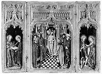 0116683 © Granger - Historical Picture ArchiveFLAGELLATION OF CHRIST.   With four saints, left: St. Peter and St. Paul; right: St. John the Baptist and Mary. Carved and gilded triptych, Spanish School under Flemish influence, 15th century.