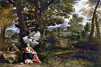 0029971 © Granger - Historical Picture ArchiveFLIGHT INTO EGYPT.   The Rest on the flight into Egypt. Canvas by Pier Francesco Mola. RESTRICTED OUTSIDE US.