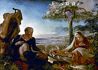 0038557 © Granger - Historical Picture ArchiveFLIGHT INTO EGYPT.   'Rest on the Flight into Egypt'. Oil on canvas by Philipp Otto Runge, 1805.