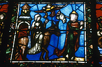 0117303 © Granger - Historical Picture ArchiveFLIGHT INTO EGPYT.   Stained glass window depicting the flight into Egypt from the Basilica of St. Denis, France, 12th century.