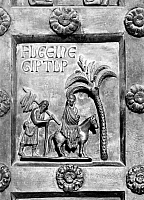 0123679 © Granger - Historical Picture ArchiveFLIGHT INTO EGYPT.   Bronze panel, cast about 1180, from the Porta de San Ranieri in the cathedral of Pisa, Italy.