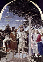 0019955 © Granger - Historical Picture ArchiveBAPTISM OF CHRIST, c1450.   'The Baptism of Christ.' Tempera on panel, Piero della Francesca, c1450.