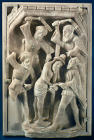 0354139 © Granger - Historical Picture ArchiveFLAGELLATION OF CHRIST.   The Flagellation. Relief sculpture from alabaster, 15th or 16th century.