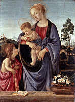 0019574 © Granger - Historical Picture ArchiveTHE VIRGIN AND CHILD.   Virgin and child with Saint John the Baptist. Tempera on poplar panel by Filippino Lippi, c1480. RESTRICTED OUTSIDE US.