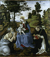 0045684 © Granger - Historical Picture ArchiveVIRGIN AND CHILD.   The Virgin and Child with St. Jerome and Dominic. Altarpiece. Wood by Filippino Lippi. RESTRICTED OUTSIDE US.