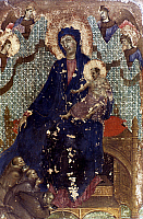 0047616 © Granger - Historical Picture ArchiveDUCCIO: MADONNA ENTHRONED.   'Madonna of the Franciscans.' Oil on wood, c1300, Duccio di Buoninsegna.