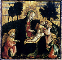 0047689 © Granger - Historical Picture ArchiveMADONNA OF THE HEDGE.   Panel by Vincenzo Foppa.