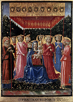 0051172 © Granger - Historical Picture ArchiveVIRGIN AND CHILD, c1447.   'The Virgin and Child with Angels.' Tempera on wood, attributed to Benozzo Gozzoli, c1447. RESTRICTED OUTSIDE US.