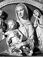 0068442 © Granger - Historical Picture ArchiveVIRGIN & CHILD.   Enamelled terra cotta by Luca della Robbia (c1400-1482).