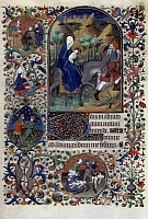 0029970 © Granger - Historical Picture ArchiveMASSACRE OF THE INNOCENTS   and the Flight into Egypt. Illumination from a French Book of Hours, c1420.