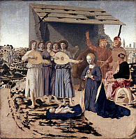 0020014 © Granger - Historical Picture ArchiveTHE NATIVITY, c1470.   'The Nativity.' Oil on poplar by Piero della Francesca, c1470. RESTRICTED OUTSIDE US.