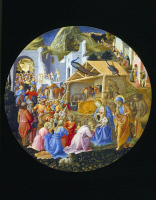 0350651 © Granger - Historical Picture ArchiveADORATION OF THE MAGI.   'The Adoration of the Magi.' Tempera on panel, Fra Angelico and Fra Filippo Lippi, c1450.
