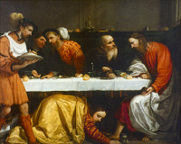 0050660 © Granger - Historical Picture ArchiveJESUS & PHARISEE.  'Supper in the House of the Pharisee.' Oil on canvas, Romanino, c1530.