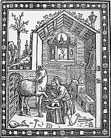 0090840 © Granger - Historical Picture ArchiveBLACKSMITH, c1250.   Jordanus Ruffus, blacksmith and stablemaster to Emperor Frederick II. Woodcut from a 1502 edition of Ruffus's 'Libro de la natura di cavalli.'