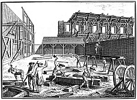 0028493 © Granger - Historical Picture ArchiveCARPENTERS, 18th CENTURY.   Carpenters sawing timbers (a), chiseling mortises (b), squaring joints (c), and trimming beams (d). Copper engraving, 18th century.