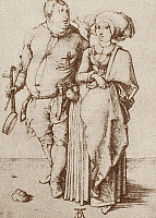 0092550 © Granger - Historical Picture ArchiveA COOK AND HIS WIFE, c1496.   Copper engraving by Albrecht Dürer, c1496.