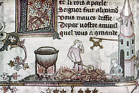 0116812 © Granger - Historical Picture ArchiveCOOKS, 14th CENTURY.   Cooks working over an open fire at 'The Saltire' inn. Detail of an illumination by Jehan de Grise in the 'Romance of Alexander,' c1340.