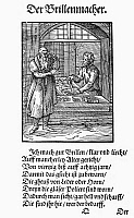 0098596 © Granger - Historical Picture ArchiveSPECTACLE MAKER, 1568.   Woodcut, 1568, by Jost Amman.