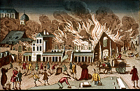 0037160 © Granger - Historical Picture ArchivePARIS FIRE, 1762.   Fire at the St. Germain market, Paris, 1762: contemporary French engraving.