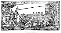 0045875 © Granger - Historical Picture ArchiveFIRE ENGINE, 1760.   A colonial American fire engine in operation. Woodcut from a broadside of 1760.